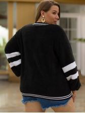 Contrast Color Plus Size Fleece Jacket