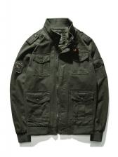 Solid Pockets Plus Size Male Winter Jacket