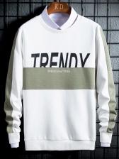 Creative Contrast Color Letter Crewneck Sweatshirt
