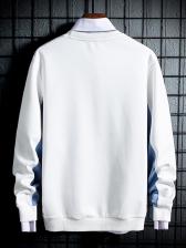 Simple Contrast Color Long Sleeve Sweatshirt