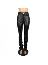 Classic Skinny Pleated Hem Leather Pants