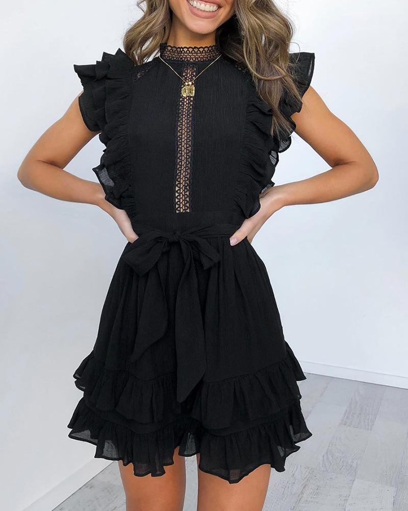 Chic Ruffled Trim Black Short Sleeve Dress