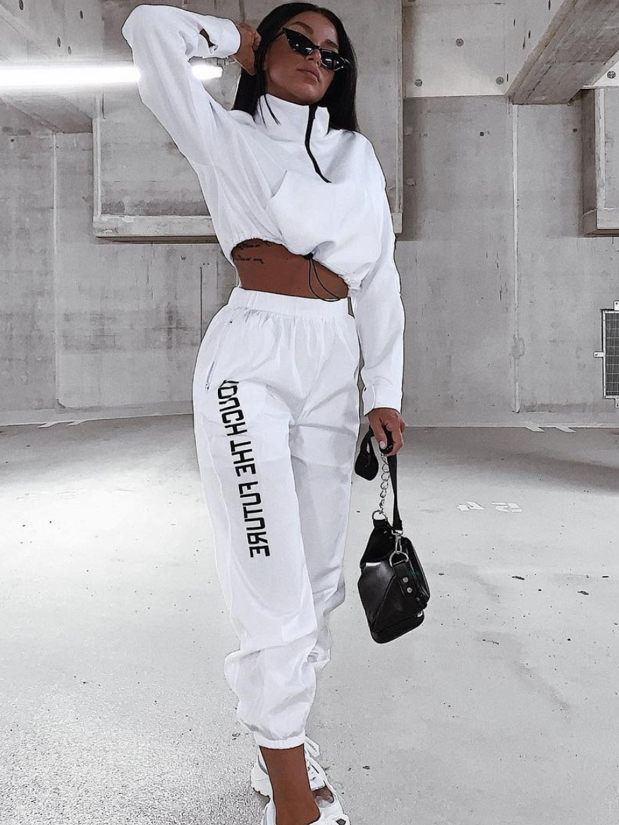 Turtle Neck Drawstring Design White 2 Piece Tracksuit
