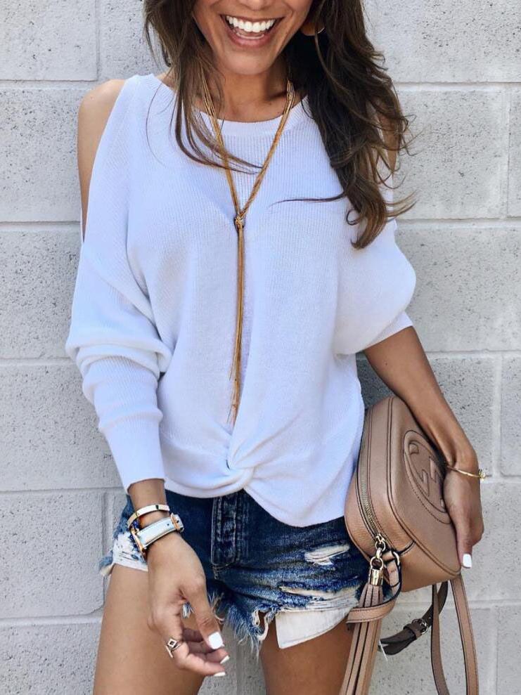Casual Off Shoulder White Sweatshirt