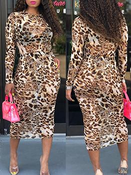 Leopard Printed Long Sleeve Women Skirt Suit