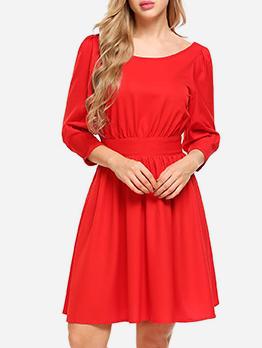 Backless Smart Waist Solid Long Sleeve Ladies Dress