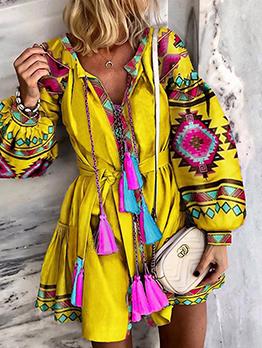 National Printed Tassels Long Sleeve Dress