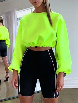 Pure Color Drawstring Cropped Long Sleeve Sweatshirt