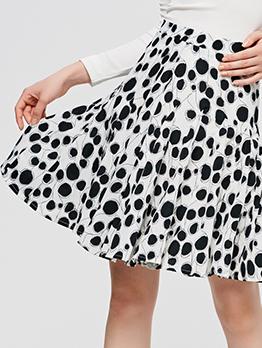 High Waist Above Knee Polka Dot Pleated Skirt
