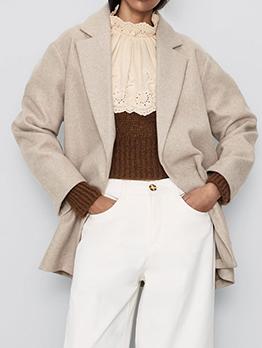 Turndown Neck Solid Short Ladies Coats