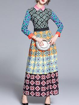 Smart Waist Geometric Printed Maxi Shirt Dress