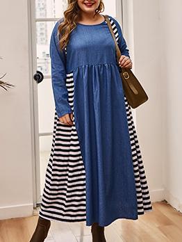 Skim Fit Plus Size Knitted Striped Midi Dress