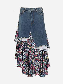 Boutique Patchwork Floral Denim Skirt