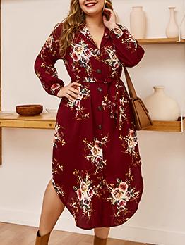 Single-Breasted Printed Long Sleeve Midi Dress