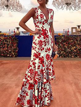 Stylish v Neck Printed Sleeveless Maxi Dress