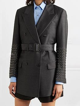 Boutique Lapel Collar Rivets Long Sleeve Blazer