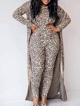 Printed Long Sleeve Skinny Jumpsuit With Long Coat