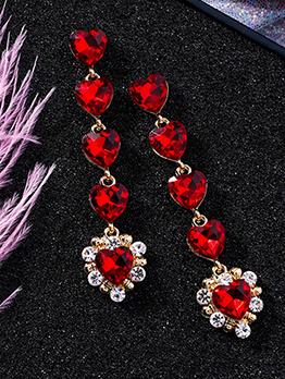 Sweet Crystal Heart Drop Earrings