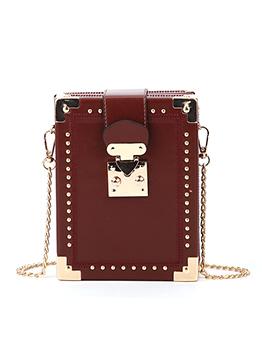 Retro Rivet Decor Chain Crossbody Phone Bag