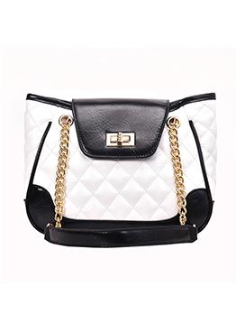Fashion Contrast Color RhomboidsChain Large Handbags