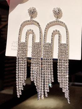 U Shape Rhinestone Tassel Earrings