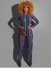 Color Striped Long Sleeve Trouser Set