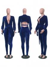 Solid Deep V Backless Ladies Jumpsuits