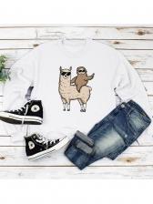 Crew Neck Cartoon Printed Long Sleeve Sweatshirt