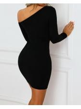 Double-Breasted v Neck Black Long Sleeve Dress