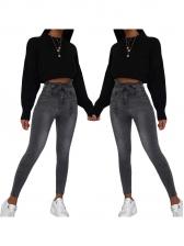Ruffled Smart Waist Gray Jeans