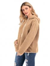Winter Long Sleeve Solid Hoodies For Women