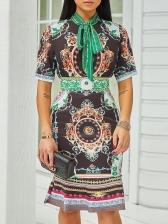 Retro Printed Tie Neck Short Sleeve Dress