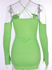 Night Club Backless Criss Cross Mini Green Dress