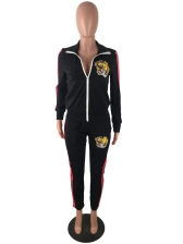 Patchwork Tiger Embroidery Womens Gym Wear