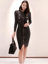 Stand Neck Zipper Up Black Long Sleeve Dress