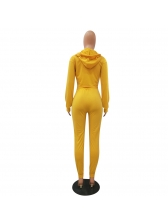 Contrast Color Hooded Long Sleeve Womens Tracksuit Set
