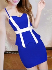 Low Cut Contrast Color Sleeveless Sheath Dress