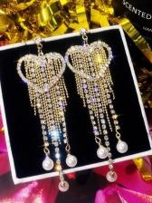 Heart Rhinestone Long Tassel Earrings