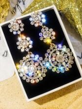 Shiny Rhinestone Flower Shape Drop Earrings