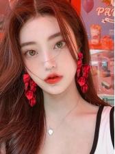 Chic Red Petal Drop Earrings