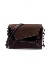 Patent Leather Patchwork Chain Shoulder Bag