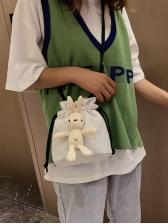 Cute Style Drawstring Plaid Rabbit Doll Crossbody Bags