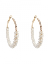 Fashion Rhinestone Decor Faux Pearl Earrings
