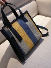 Contrast Color Wide Striped Canvas Crossbody Handbags