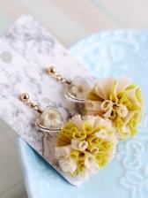 Heart Dried Flowers Tassel Ball Earrings For Women