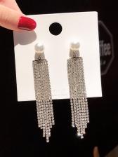 Chic Shining Rhinestone Tassel Earrings