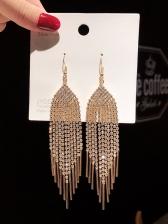 Elegant Full Rhinestone Tassel Earrings
