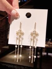 Faux Pearl Decor Rhinestone Tassel Earrings