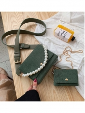 Pearl Decor Solid Crossbody Bag Set For Women