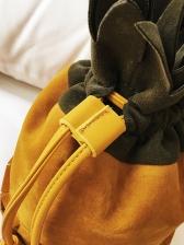 Fashion Contrast Color Drawstring Bucket Bag